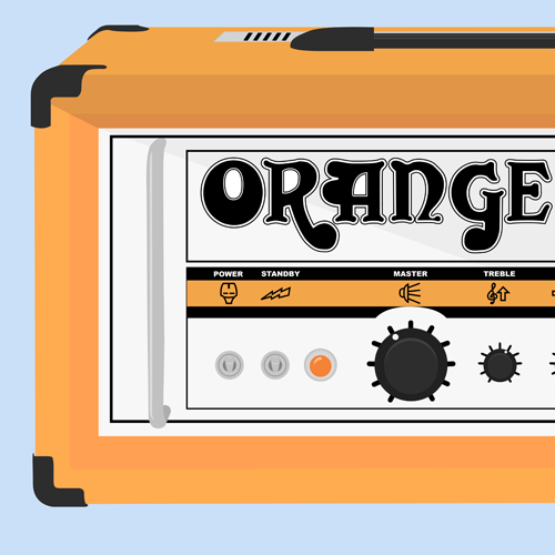 Illustration of an Orange amp Retro 50 Head done in illustrator cs4